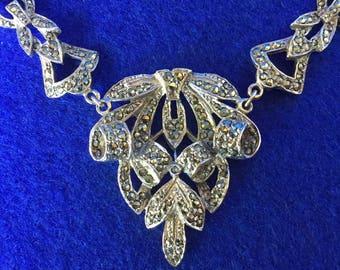 1940s Art Deco Marcasite and Rhodium Necklace