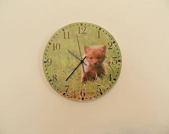 Fox clock, red fox  yellow wall clock, nursery décor, Housewares, gift for children, retro wall clock,