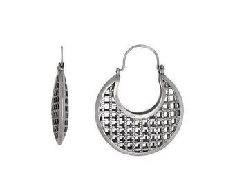 ON SALE Sterling Silver .925 Grid Design, Cut Out Squares Basket Earring, Oxidized | Made in USA