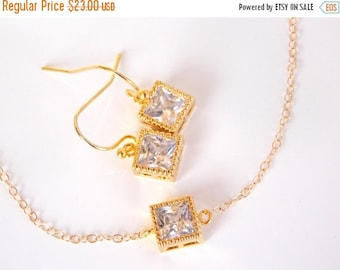 SALE Wedding Jewelry, Clear Earrings and Bracelet Set, Crystal, Cubic Zirconia, Gold Filled, Bridesmaid Jewelry,Brides Gifts,Set, Bridesmaid