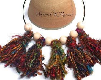 Necklace Bohemian, crew neck, recycled Sari silk yarn