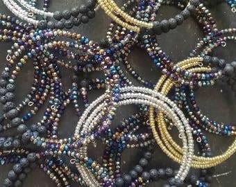 Lava Essential Oil Diffuser Bracelet * Boho  --- Aromatherapy Jewelry Memory Wire Bracelet