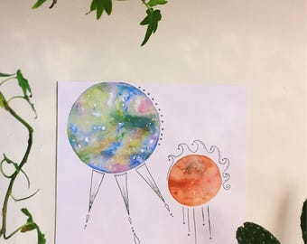 Celestial Sisters - Watercolor Print, Abstract Colorful Planets