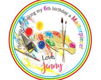"""Custom Art Party Printable 2.5"""" Tags-Personalized Art Thank you Birthday 2.5 inches Tags- Stickers, DIY Art-Masterpiece Party Favor Tags"""