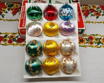 Vintage Christmas Ornaments Set of 12 in Box, Vintage Satin Christmas Balls and Glass Christmas Ball Ornaments