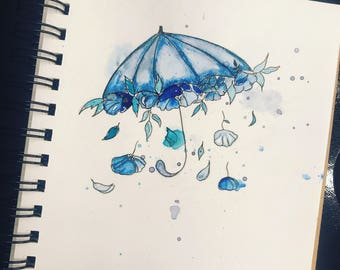 Flowery Umbrella Watercolour