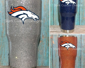 Denver Broncos Inspired Glitter Tumbler - Yeti, Rtic, or Ozark - 30 oz. or 20 oz. (sealed decal)