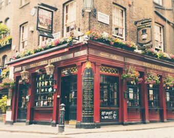 London Pub, London Photography, London Print, Black and white, Fine Art Print, English Pub, Tavern, Office Decor, Red, Gold, Wall Art