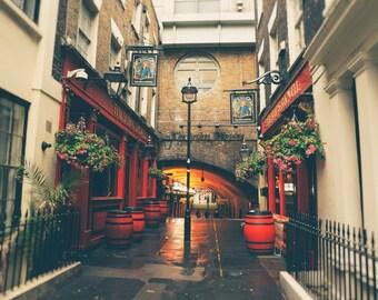 London Pub, London Wall Art, London Photography Print, English Pub, British Decor, red, gold, Office Decor, Bar Decor, For Him