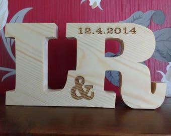 free standing engraved pine pair ltters personalised gift / birthday gift, personalised, engraved