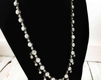 Vintage Rhinestone Necklace,adjustable,costume jewelry,crystal necklace,silver tone,mid century modern necklace,wedding jewelry,