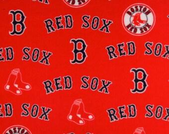 MLB Fleece Fabric - Boston Red Sox - Red Fleece - Baseball Fleece