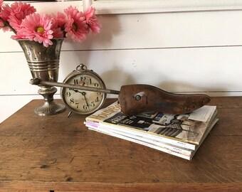 Antique Shoe Form, Wooden Shoe Stretcher, Cobbler Tools, Primitive Wood Home Decor,