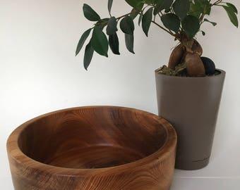 Large CEDAR BOWL hand turned on a wood LATHE