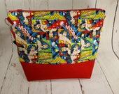 Wonder Woman Large Knitting Project Bag, Large Zipper Knitting Sweater Project Bag WL009
