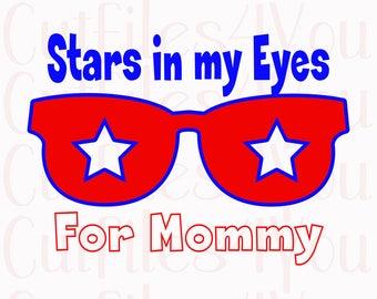Stars in my eyes svg, baby shower gift svg, 4th of July SVG, Patriotic SVG, sunglasses svg, stars for mommy svg, Little Star Baby svg