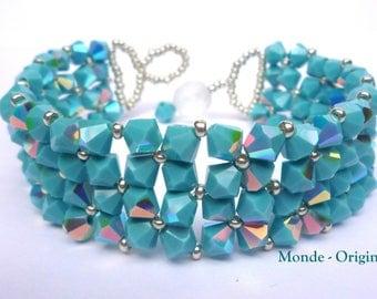 Woven swarovski Turquoise Crystal bracelet