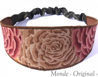Pink reversible fabric flower headband headband brown leather