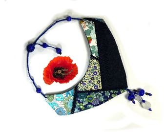 Embroidered in Liberty fabrics and Denim Blue patchwork bib necklace