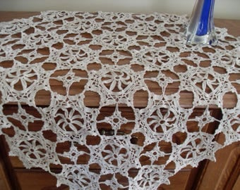 Unique crochet square, made in France in 1900  Beautiful French hand worked heavy cotton centerpiece.