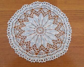 Art in ombre blue fine cotton doily