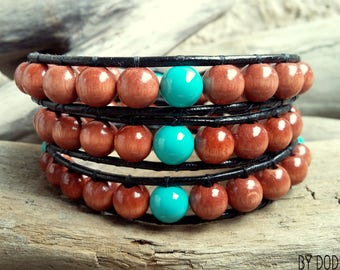 Wrap bracelet 3 turns for Man, black leather, hazelnut brown wood, turquoise blue baked porcelain Boho jewelry  By Dodie