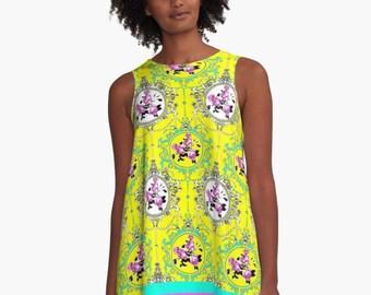 ROSALINDA  A-Line Swing Dress Trapeze XS S M L XL 2XL Yellow Blue Pink Floral Flower Black White Green Woman Teen Wearable Art Clothing