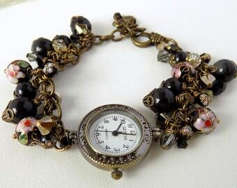 Swarovski Crystal Black Pearl Watch Bracelet Ladies Bronze Watch Wrist Watch Bracelet Victorian Style Gift for Her