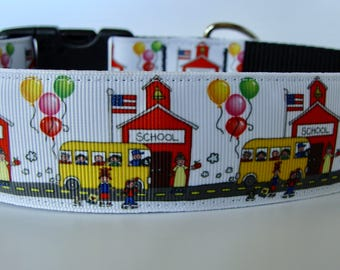 "Back to School Dog Collar Large 1.5"" wide - Ready to Ship!"