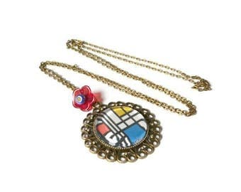 mondrian abstract art glass cabochon necklace