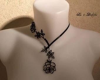 Tattoo wedding necklace Valentine's day pattern black pink fine * 3 lace *.