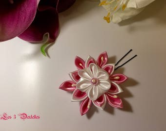 Bridal white, pink flower hair stick * 3 lace *.