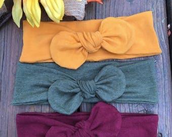 Baby Knotted Headbands//Set of 3//Turban Headbands//Baby Headbands//Knotted Headbands