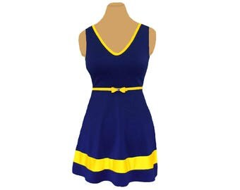 Navy or Blue + Yellow Skater Dress