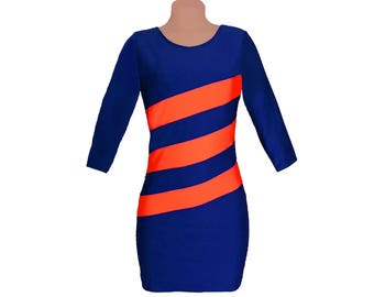 Navy + Orange Diagonal Stripe Dress 3/4 Length Sleeves