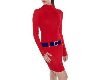 Red + Blue/Navy Sweater Dress