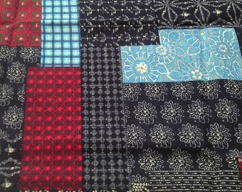 Fabric cotton linen Patchwork Red 10 m