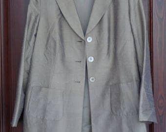20% OFF Extra Large Women's Jacket; Golden Taupe Pure Silk Jacket Size UK20; Vintage Long Sleeve Jacket by Madeleine