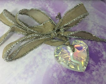 Necklace short romantic silk taupe and large Crystal heart