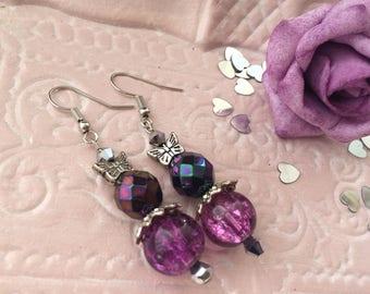 Earrings ' plum purple glass bead earrings