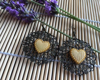 Earrings bronze and small hearts