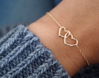 Gold plated heart 750 fine link chain bracelet / bangle 18K plated gold