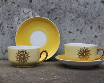 Soviet Yellow Tea Coffee Cups with Saucer, Set of 2 Vintage Riga Porcelain, Made in USSR