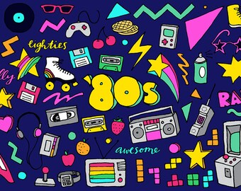 80s Clipart - Eighties clipart, hand drawn illustrations, 80's illustrations, digital download, disks cassettes gaming, colorful clipart