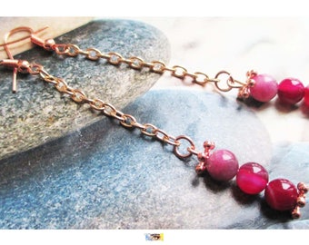 """Earring """"Trio of wrapped pink agate beads on metal fuchsia rose gold (champagne)"""""""