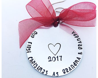 Our first christmas as grandma and grandpa, our first Christmas nonna,  first christmas ornament, gift for new grandparents, gift for grandm