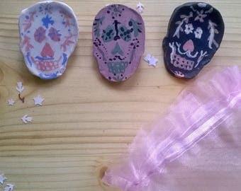 Glazed ceramic hand painted skull pins