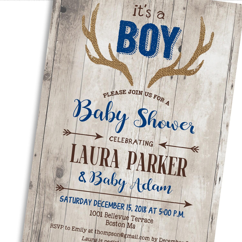 Deer Baby Shower Invitation For Boy. Antlers Rustic Wood Navy Blue ...