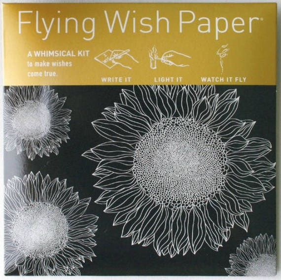 Flying Wish Paper - sunflowers design - package of 15 wishes, make a wish