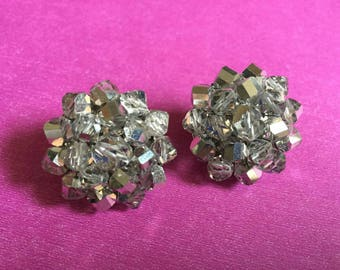 Vintage Vogue Earrings Crystal silver  bead button dimensional shiny sparkly clip-on  mod Mardi boho retro Couture designer chunky earrings